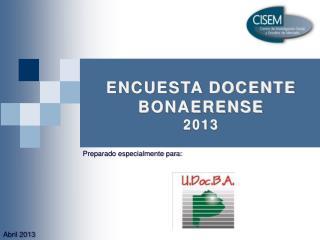ENCUESTA DOCENTE BONAERENSE 2013