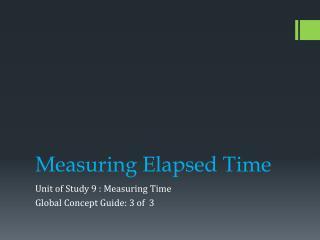 Measuring Elapsed Time