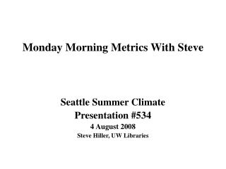 Monday Morning Metrics With Steve