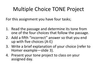 Multiple Choice TONE Project