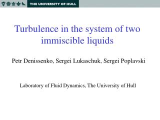 Turbulence in the system of two immiscible liquids
