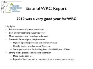 State of WRC Report