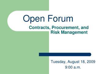 Contracts, Procurement, and                     Risk Management