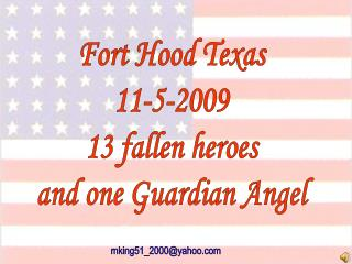 Fort Hood Texas 11-5-2009 13 fallen heroes and one Guardian Angel