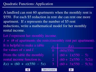 Quadratic Functions: Application