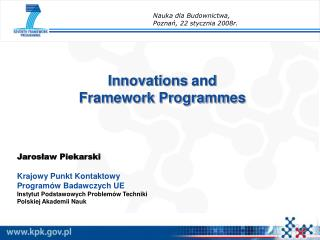 Innovations  and  Framework Programmes