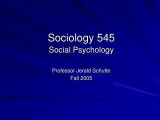 Sociology 545