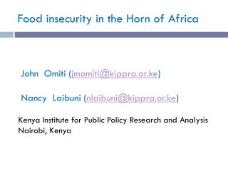 Food insecurity in the Horn of Africa