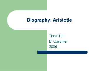 Biography: Aristotle