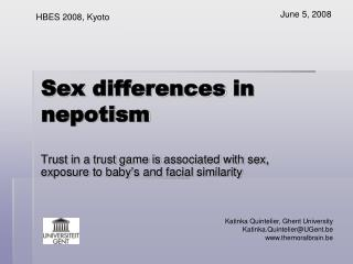 Sex differences  in  nepotism
