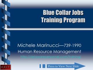 Blue Collar Jobs Training Program