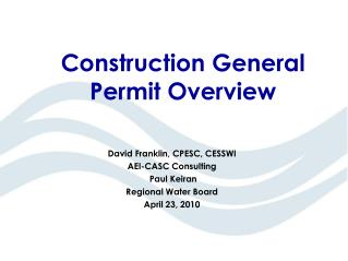 Construction General Permit Overview