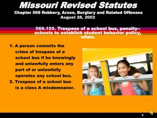 569.155.  Trespass of a school bus, penalty--schools to establish student behavior policy, when.