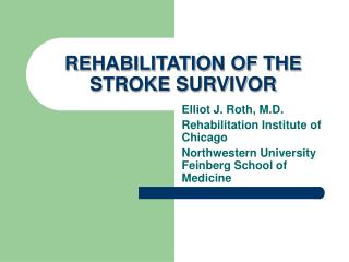 REHABILITATION OF THE STROKE SURVIVOR