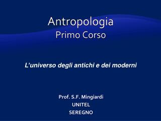 Antropologia Primo Corso