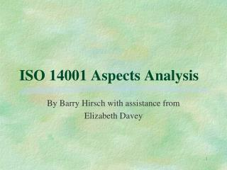 ISO 14001 Aspects Analysis