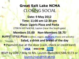 Great Salt Lake NCMA CLOSING SOCIAL
