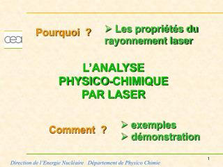 L'ANALYSE  PHYSICO-CHIMIQUE PAR LASER