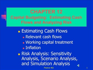 Estimating Cash Flows Relevant cash flows Working capital treatment Inflation Risk Analysis: Sensitivity Analysis, Scena