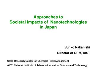 Approaches to  Societal Impacts of  Nanotechnologies  in Japan