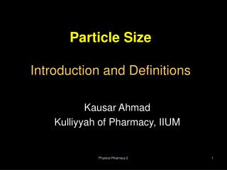 Particle Size  Introduction and Definitions