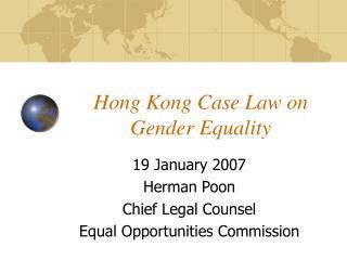 Hong Kong Case Law on Gender Equality