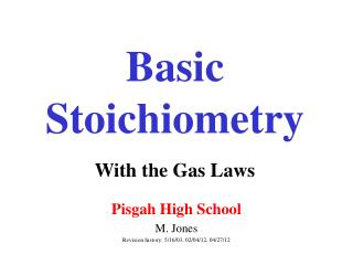 Basic Stoichiometry