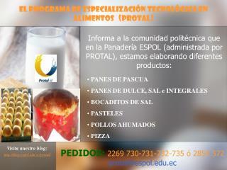 El Programa de Especialización Tecnológica en Alimentos   (PROTAL)