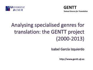 GENTT Textual  Genres for Translation