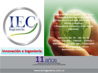 Instrumentación y Control Electrónico Ingeniería Eléctrica & Proyectos