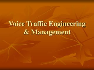 Voice Traffic Engineering  Management