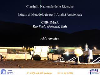 Consiglio Nazionale delle Ricerche Istituto di Metodologie per l'Analisi Ambientale CNR-IMAA