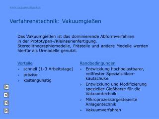 Verfahrenstechnik: Vakuumgießen