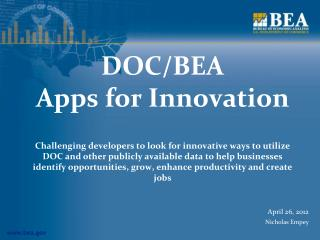 DOC/BEA  Apps for Innovation