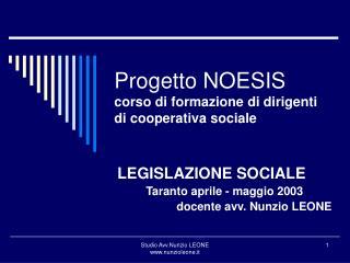 Progetto NOESIS corso di formazione di dirigenti di cooperativa sociale