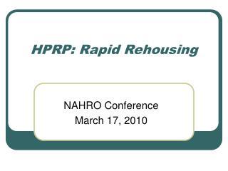 HPRP: Rapid Rehousing