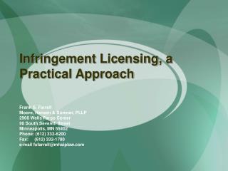 Infringement Licensing, a Practical Approach