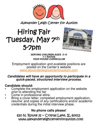Hiring Fair   Tuesday, May 7 th 	   5-7pm
