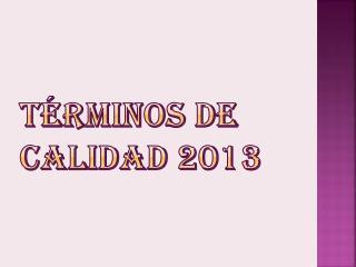 Términos de Calidad 2013