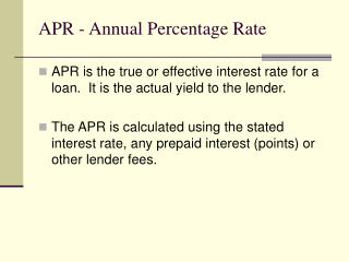 APR - Annual Percentage Rate