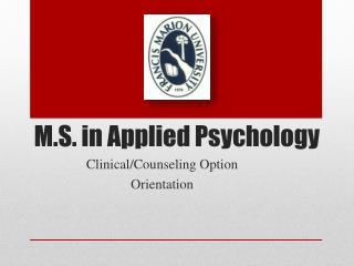 M.S. in Applied Psychology