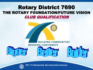 Rotary District 7690  THE ROTARY FOUNDATION/FUTURE VISION  CLUB QUALIFICATION