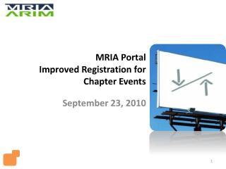 MRIA Portal Improved Registration  for Chapter  Events