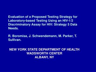NEW YORK STATE DEPARTMENT OF HEALTH WADSWORTH CENTER ALBANY, NY
