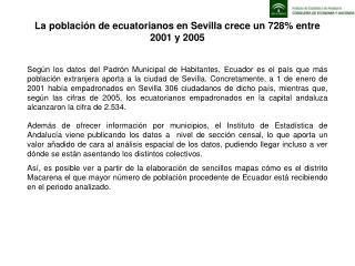 La población de ecuatorianos en Sevilla crece un 728% entre 2001 y 2005