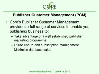 Publisher Customer Management (PCM)