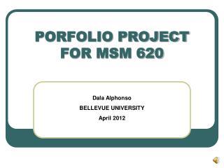 PORFOLIO PROJECT FOR MSM 620