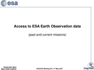 Access to ESA Earth Observation data (past and current missions)