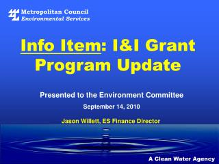 Info Item : I&I Grant Program Update