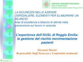 L'esperienza dell'AUSL di Reggio Emilia:  la gestione del rischio movimentazione pazienti